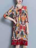 povoljno Maxi haljine-Žene Izlasci Pamuk Širok kroj A kroj Haljina Geometrijski oblici V izrez Iznad koljena / Sexy
