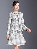זול חליפות שני חלקים לנשים-חצאית משובץ דמקה - בלייזר בסיסי / מתוחכם בגדי ריקוד נשים