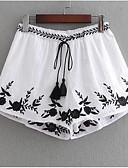 ieftine Pantaloni de Damă-Pentru femei De Bază Bumbac Pantaloni Scurți Pantaloni - Floral Brodat Alb