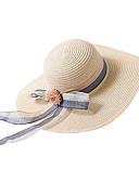 billige Hatter til damer-Dame Grunnleggende / Ferie Stråhatt Fargeblokk