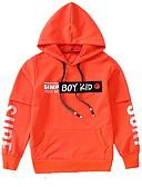 Χαμηλού Κόστους Μπλουζάκια για αγόρια-Παιδιά Αγορίστικα Βασικό Στάμπα Μακρυμάνικο Πολυεστέρας Μπλούζα με Κουκούλα & Φούτερ Μαύρο