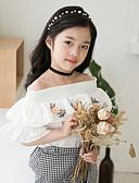 お買い得  女児 トップス-子供 女の子 ボヘミアン 幾何学模様 半袖 コットン ブラウス ホワイト