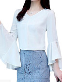 tanie Koszula-Bluzka Damskie Biznes, Frędzel Bawełna Solidne kolory Bufka Czarno-biały