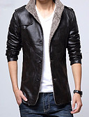 cheap Men's Jackets & Coats-Men's Daily Street chic Fall & Winter Regular Leather Jacket, Solid Colored V Neck Long Sleeve PU / Polyester Brown / Black / Light Brown XXL / XXXL / 4XL