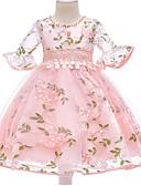 זול שמלות במידות גדולות-שמלה חצי שרוול פרחוני בסיסי בנות ילדים
