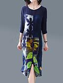 ieftine Rochii de Damă-Pentru femei Șic Stradă / Sofisticat Mărime Plus Size Larg Pantaloni - Geometric Imprimeu Albastru piscină / Ieșire