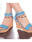 baratos Vestidos para Madrinhas-Mulheres Sapatos Confortáveis Couro Ecológico Verão Sandálias Salto Plataforma Branco / Laranja / Azul