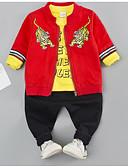 preiswerte Kleidersets für Jungen Babys-Baby Jungen Grundlegend Alltag Druck Langarm Standard Standard Polyester Kleidungs Set Schwarz