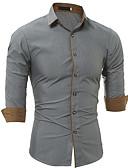 お買い得  メンズシャツ-男性用 ワーク シャツ ビジネス スリム ソリッド コットン ホワイト XL / 長袖