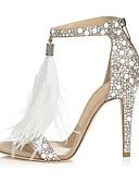cheap Wedding Dresses-Women's PU(Polyurethane) Summer Basic Pump Sandals Stiletto Heel Open Toe Rhinestone Almond / Wedding / Party & Evening / Party & Evening