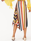 abordables Camisas para Mujer-Mujer Tallas Grandes Algodón Maxi Columpio Faldas - Volante, A Rayas / Bloques