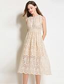 hesapli Gelinlikler-Kadın's sofistike / Zarif A Şekilli Elbise - Solid, Dantel Midi
