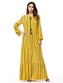 abordables Robes Maxi-Femme Midi Courte Robe Jaune XXL XXXL XXXXL Coton Manches Longues