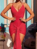 זול שמלות נשים-V עמוק מיני גב חשוף / קשור, אחיד - שמלה צינור סקיני סקסי מועדונים בגדי ריקוד נשים