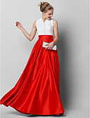 billige Ballkjoler-A-linje Høyhalset Gulvlang Blonder / Sateng Fargeblokk Formell kveld Kjole med Plissert av TS Couture®