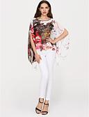 baratos Echarpes Coloridas de Chiffon-Mulheres Blusa Moda de Rua Manga Morcego Estampado,Floral Oversized