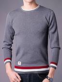 povoljno Muške majice i potkošulje-Muškarci Dugih rukava Slim Pullover Prugasti uzorak Okrugli izrez
