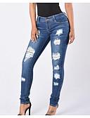 tanie Damskie spodnie-Damskie Bawełna Jeansy Spodnie Solidne kolory