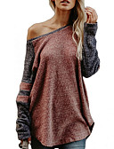 cheap Women's Sweaters-Women's Going out Long Sleeve Loose Long Pullover - Color Block
