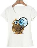 baratos Camisetas Femininas-Mulheres Camiseta - Para Noite Básico Estampado, Animal Algodão
