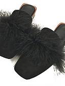 abordables Vestidos Maxi-Mujer Zuecos y pantuflas Zapatos Confort Tacón Cuadrado Dedo cuadrada Piel Sintética / PU Minimalismo Otoño Negro / Almendra