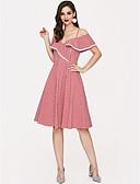 رخيصةأون فساتين فينتيدج قديمة-فستان نسائي شيفون طول الركبة لون سادة مع حمالة