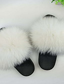 cheap Smartwatches-Women's Slippers House Slippers Ordinary Fox Fur solid color