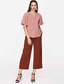 baratos Blusas Femininas-Mulheres Blusa Sólido Decote V