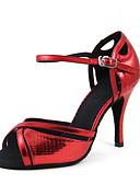 ieftine Maieu & Tricouri Bărbați-Pentru femei Pantofi Dans Latin / Pantofi Dans / Pantofi de Samba Satin Sandale / Călcâi Subțire superioară Personalizabili Pantofi de dans Auriu / Rosu