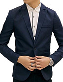 cheap Men's Blazers & Suits-Men's Going out / Weekend Business / Vintage Spring & Summer / Fall & Winter Plus Size Regular Blazer, Solid Colored Shirt Collar Long Sleeve Rayon / Polyester / Spandex Patchwork Purple / Light Blue