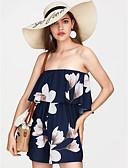 זול חולצה-סירה מתחת לכתפיים דפוס, קולור בלוק - Rompers כותנה חגים בגדי ריקוד נשים / אביב / קיץ / דפוסי פרחים
