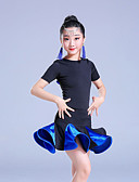 billige Dansetøj til børn-Latin Dans Kjoler Pige Ydeevne Spandex Ruche / Kombination / Bandage Kortærmet Høj Kjole