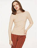 cheap Women's Sweaters-Women's Daily Solid Colored Long Sleeve Short Pullover, Turtleneck Fall / Winter Wine / Army Green / Khaki M / L / XL