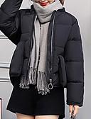 billige Damedunjakker og anorakker-Dame Daglig / I-byen-tøj Ensfarvet Kort Vatteret, Polyester Langærmet Høj krave Sort / Rød / Lyserød L / XL / XXL