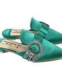 hesapli Kadın Eşarpları-Kadın's Ayakkabı Saten Bahar Terlikler ve Sandaletler Düz Taban Günlük için Yeşil / Badem / Kırmızı Şarap