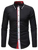 cheap Men's Shirts-Men's Work Business / Basic Shirt - Solid Colored / Floral / Long Sleeve