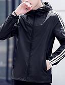 זול גברים-ג'קטים ומעילים-קולור בלוק עם קפוצ'ון ג'קט - בגדי ריקוד גברים / שרוול ארוך