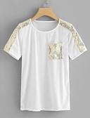 baratos Camisetas Femininas-Mulheres Camiseta Sólido Algodão Branco M