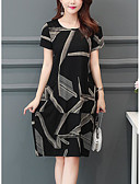 ieftine Rochii de Damă-Pentru femei Mărime Plus Size Larg Shift Rochie - Imprimeu, Geometric Lungime Genunchi