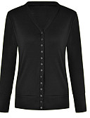 cheap Women's Sweaters-Women's Daily Solid Colored Long Sleeve Regular Cardigan, V Neck Black / Wine M / L / XL
