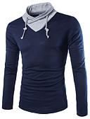 ieftine Maieu & Tricouri Bărbați-Bărbați Guler Cămașă Tricou Bloc Culoare / Manșon Lung