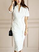 billige Skjorter til damer-Dame Arbeid Skjede Kjole Crew-hals Midi