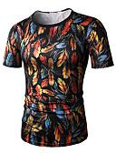 お買い得  メンズTシャツ&タンクトップ-男性用 スポーツ - プリント プラスサイズ Tシャツ 活発的 / ベーシック ラウンドネック スリム カラーブロック コットン グリーン XL / 半袖 / 夏