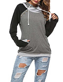 cheap Women's Hoodies & Sweatshirts-Women's Going out Hoodie - Color Block Black L