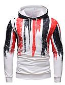 ieftine Maieu & Tricouri Bărbați-Bărbați Activ / Șic Stradă Mărime Plus Size Zvelt Pantaloni - Bloc Culoare Imprimeu Alb / Capișon / Sport / Manșon Lung / Primăvară / Toamnă