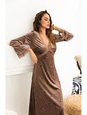 ieftine Print Dresses-Pentru femei Zvelt Pantaloni Talie Înaltă Roz Îmbujorat / Maxi / V Adânc