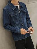 tanie Męskie kurtki i płaszcze-Męskie Codzienny Moda miejska Regularny Jeansowa kurtka, Solidne kolory Kołnierzyk koszuli Długi rękaw Poliester / Jeans Granatowy L / XL / XXL