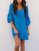 olcso Örömanya ruhák-Női Alkalmi Egyenes Ruha - Fodrozott, Egyszínű Térd feletti V-alakú