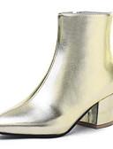 abordables Relojes Brazalete-Mujer Fashion Boots Ante / PU Otoño invierno Botas Talón de bloque Dedo Puntiagudo Mitad de Gemelo Dorado / Negro / Plateado