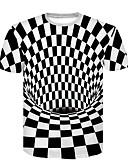 お買い得  メンズTシャツ&タンクトップ-男性用 クラブ - プリント Tシャツ ベーシック / ストリートファッション ラウンドネック カラーブロック ブラック&ホワイト / 半袖